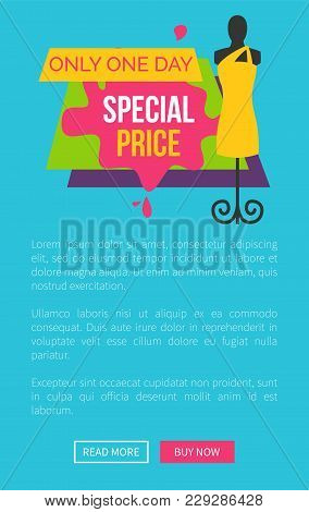 Only One Day Special Price Promo Poster With Push Buttons Read More And Buy Now, Dummy Mannequin In
