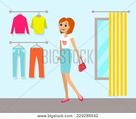 Clothing Store And Woman Poster With Clothing Store Interior Clothes And Changing Room With Curtains