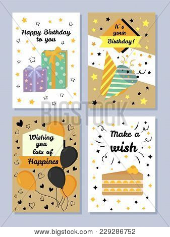 Happy Birthday To You Set, Wishing You Lots Of Happiness, Cards With Birthday Wishes, Collection Wit