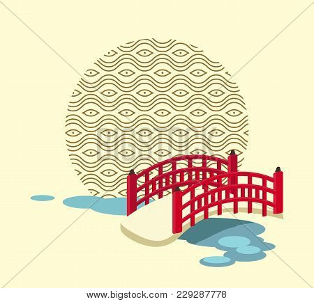 Japanese Vintage Bridge With Red Handrails Over Blue River And Circle With Ethnic Pattern Isolated C
