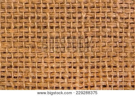 Canvas Fabric Texture On Macro. High Resolution Photo