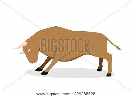 Cow, Ox And Bull In Flat Vector Art Design, Side View