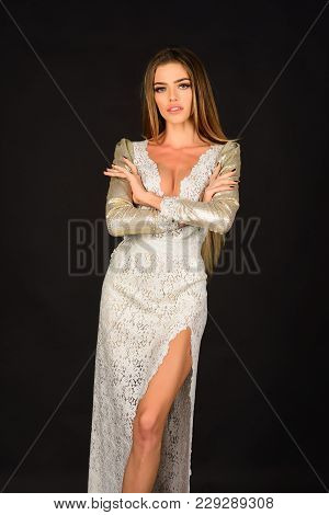 Woman In Stylish Dress, Glamour, Elegance. Fashion Model Pose In Studio, Beauty. Fashion And Beauty,