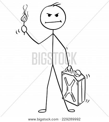 Cartoon Stick Man Drawing Conceptual Illustration Of Angry Businessman Holding Petrol Or Gas Jerry C