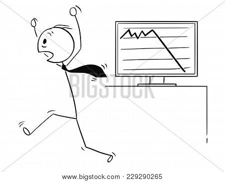 Cartoon Stick Man Drawing Conceptual Illustration Of Scared Businessman Running In Panic Scared By L