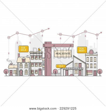 Urban And Suburban Houses. Real Estate Concept. Vector Illustration.