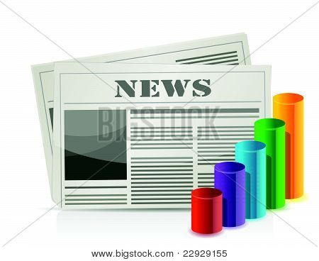 chart statistics and newspaper isolated on white
