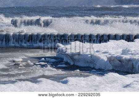 Winter - Ice On The Sea Shore And On The Palisade