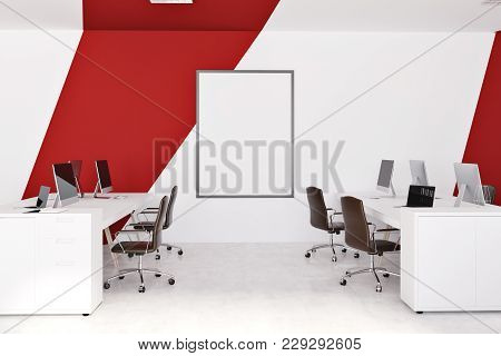 White And Red Office Interior With White Computer Tables, Black Chairs, A Framed Vertical Poster. 3d