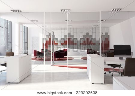 White, Gray And Red Wall Pattern Office Interior With White Computer Tables, And Black Chairs. 3d Re