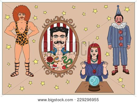 Vintage Circus Illustrations Collection. Flash Tattoo. Circus Perfomers. Strong Man, Tattooed Man, P