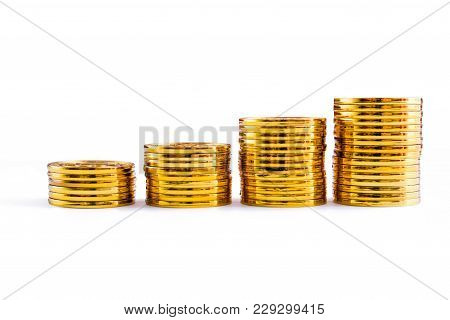 Golden Bitcoin Coins Stack. Isolated On White Background With Clipping Path