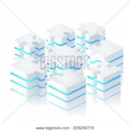 Parts Of Puzzles In Modern Digital Style. Puzzle Piece Infographics Business Concept,  Block Diagram