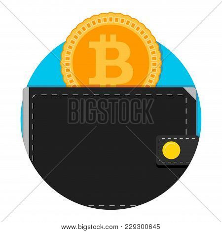 Electronic Wallet For Bitcoin Application Icon. Money Bitcoin Wallet App, E-wallet Electronic Label