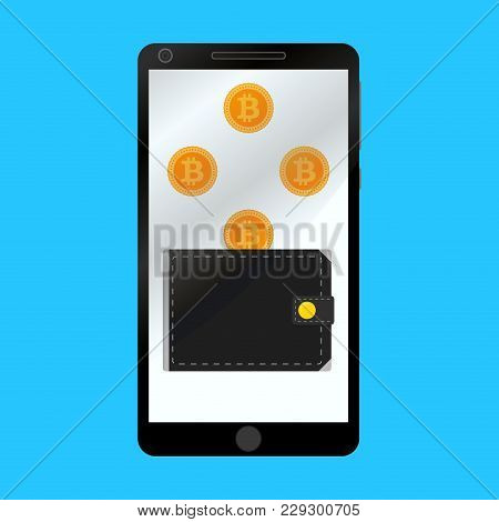 Wallet For Crypto Bitcoin In Smartphone Isolated Flat. Personal Wallet Bitcoin On Phone, Vector Tech