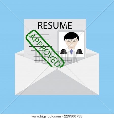 Approved Stamp On Resume In Envelope Vector. Resume Letter, Cv With Rubber Stamp Approve Illustratio