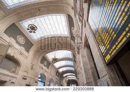 Milan, Italy - 21 May 2017: Interior Of Milano Centrale Station, The Main, Central Railway Station O