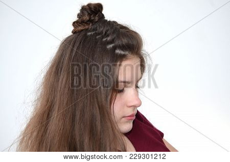 Hairstyle With Long Length Of Hair. Beams With Hair