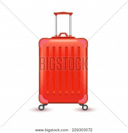 Realistic Blue Travelling Suitcase, Bag Mockup. Vector Voyage Plastic Luggage Case With Handle Wheel