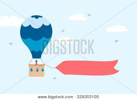 Vector Illustration Of Hot Air Balloon With Banner For Lettering On Blue Sky With Clouds And Birds.