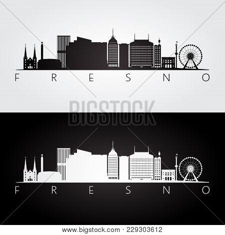 Fresno Usa Skyline And Landmarks Silhouette, Black And White Design, Vector Illustration.
