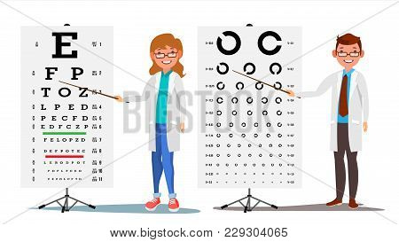 Ophthalmology Doctor Set Vector. Female, Male. Medical Eye Diagnostic. Eye Test Chart In Clinic. Dia