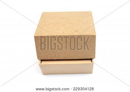Close Up Cardboard Box Isolated On White Background