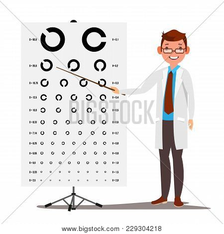 Male Ophthalmology Vector. Sight, Eyesight. Optical Examination. Doctor And Eye Test Chart In Clinic