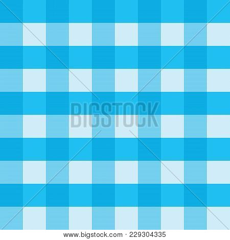 Blue Gingham Tablecloth Seamless Vector Background Pattern Design. Texture From Rhombus Or Squares F