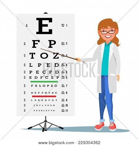 Female Ophthalmology Vector. Medical Eye Diagnostic. Doctor And Eye Test Chart In Clinic. Eyesight A