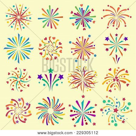 Vector Firework Icons Celebration Holiday Event Night New Year Fire Festival Explosion Illustration.