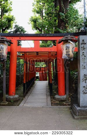 Tokyo, Japan - september 30, 2017: japanese Gate In  Ueno Park. Ueno Park Is A Spacious Public Park