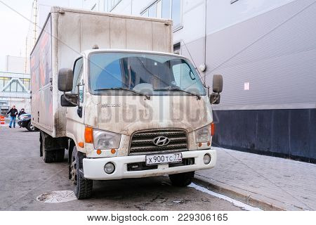 Moscow, Russia - February, 28, 2018: Truck stands on an unloading in Moscow near Crocus Expo Exebishion Center