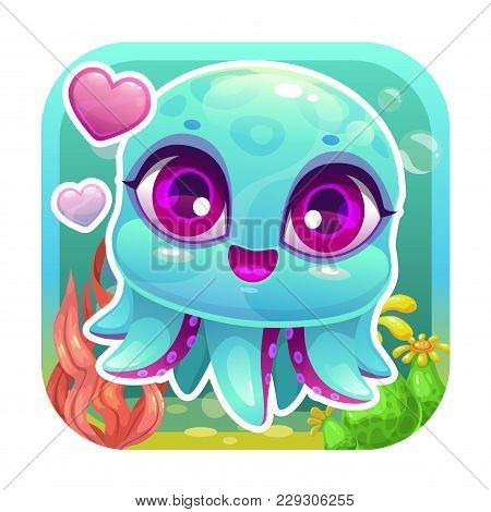 App Icon With Funny Cartoon Little Baby Octopus. Vector Asset For Game Or Web Design.