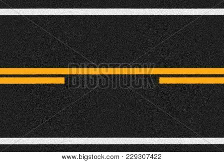 Asphalt Road Surface With Orange And White Lines