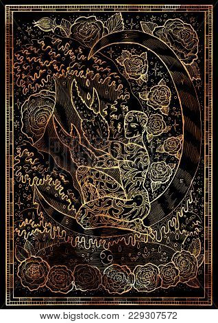 Zodiac Sign Cancer On Black Texture Background. Hand Drawn Fantasy Graphic Illustration In Frame. Ha