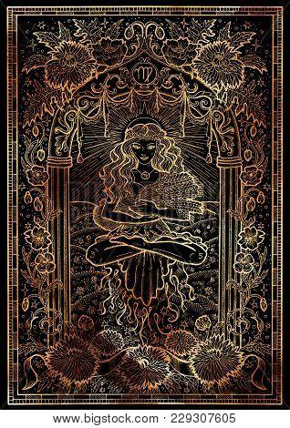 Zodiac Sign Virgo Or Maiden On Black Texture Background. Hand Drawn Fantasy Graphic Illustration In