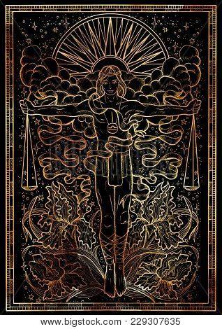 Zodiac Sign Libra Or Scales On Black Texture Background. Hand Drawn Fantasy Graphic Illustration In