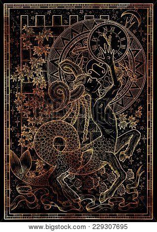 Zodiac Sign Capricorn On Black Texture Background. Hand Drawn Fantasy Graphic Illustration In Frame.