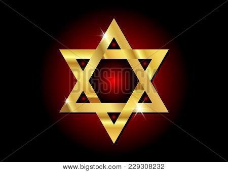 Vector Gold Symbol Of Judaism Religion, Golden Star Of David .