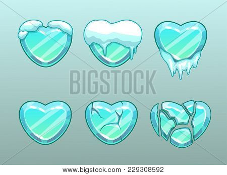 Frozen Hearts Icons. Ice Heart With Snow, Whole And Broken Condition.