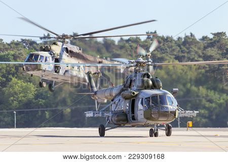 Berlin, Germany - May 22, 2014: Czech Air Force Mi-171 Helicopters Landing After A Demonstration At