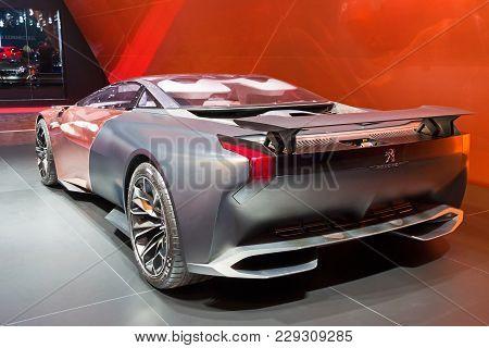Geneva, Switzerland - March 3, 2015: Peugeot Onyx At The 85th International Geneva Motor Show In Pal