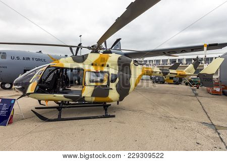 Paris-le Bourget - Jun 18, 2015: New Us Army Eurocopter Uh-72 Lakota Helicopter On Display At The Pa