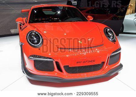 Geneva, Switzerland - March 4, 2015: Porsche 911 Gt3rs At The 85th International Geneva Motor Show I