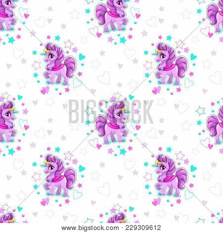 Seamless Pattern With Beautiful Cartoon Little Unicorn Princess, Stars And Hearts On The White Backg