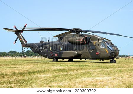 Norvenich, Germany - June 12, 2015: Germany Army Sikorsky Ch-53 Transport Helicopter On The Grass Of