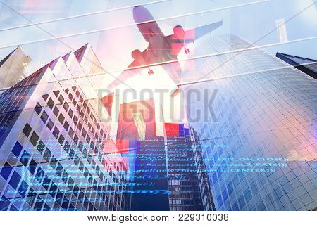 Abstract City Background With Airplane And Html Code. Engineering And Aero Technology Concept. Doubl