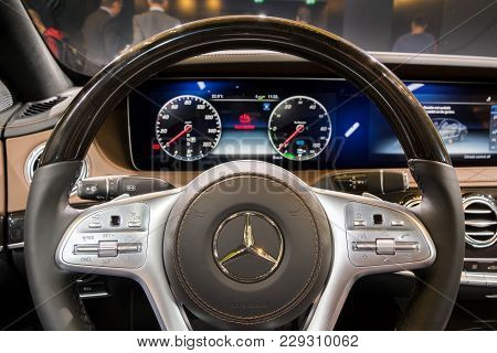 Frankfurt, Germany - Sep 13, 2017: Steering Wheel In The New Mercedes-benz S560e Car Showcased At Th