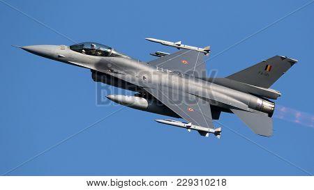 Leeuwarden, The Netherlands - Mrt 28, 2017: Belgian Air Force F-16 Fighter Jet Plane Taking Off Duri